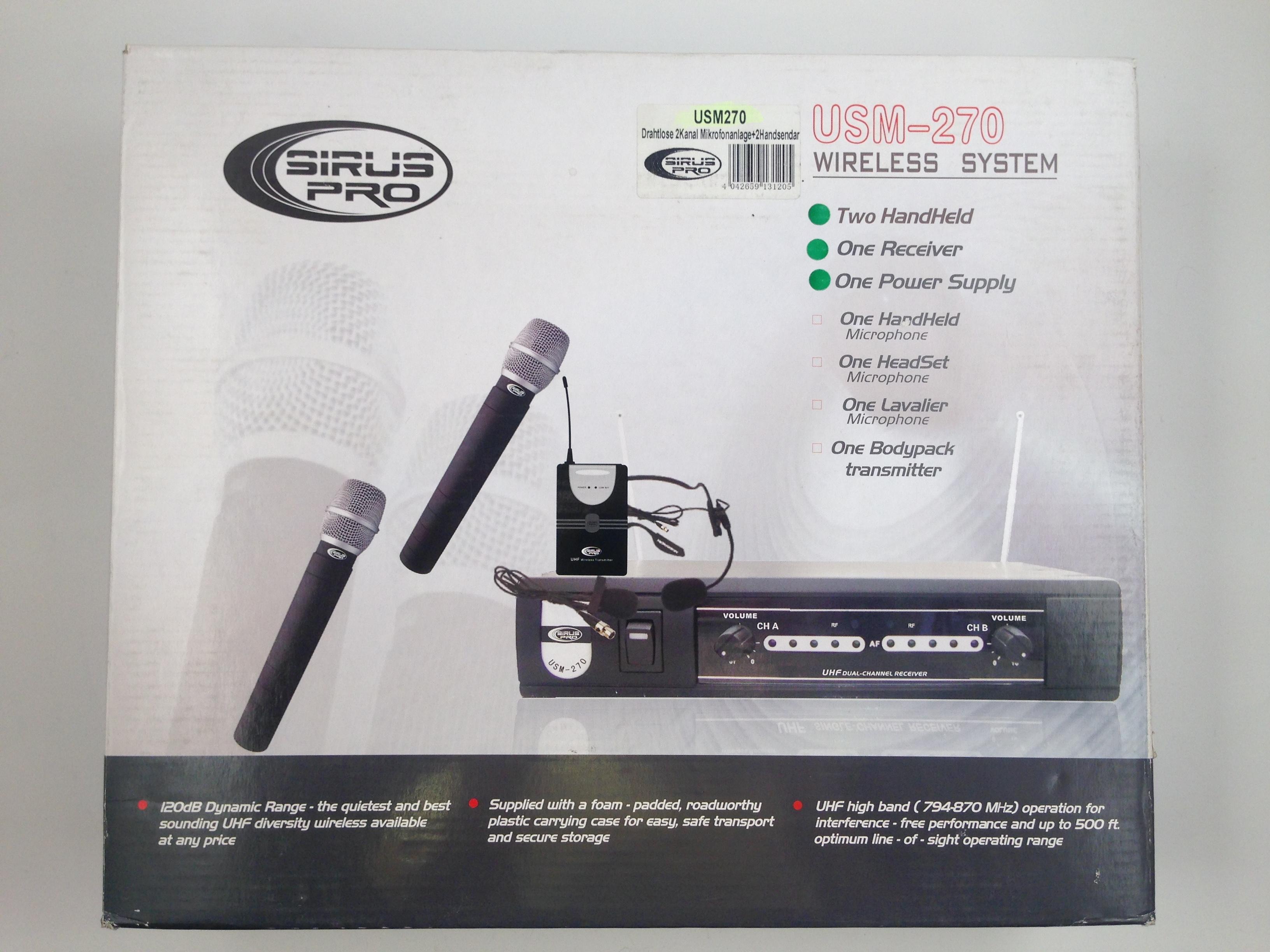 Sistema di microfoni a 2 canali UHF USM270